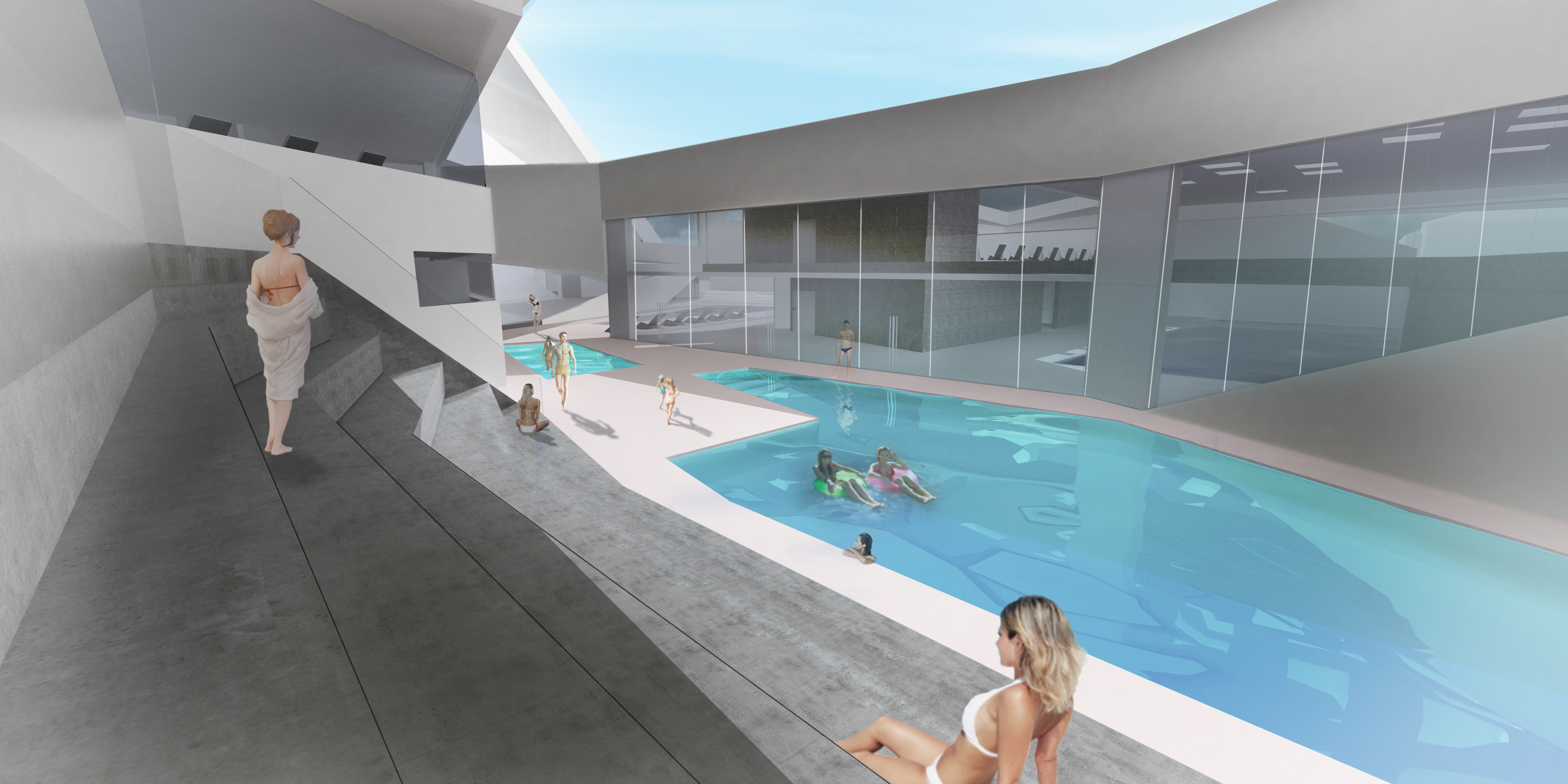 Bywater aquatic center courtyard pools glass edit